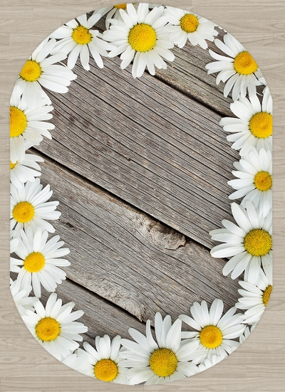 Else Gray Wood White Yellow Daisy Flowers 3d Pattern Print Non Slip Microfiber Living Room Modern Oval Washable Area Rug Carpet