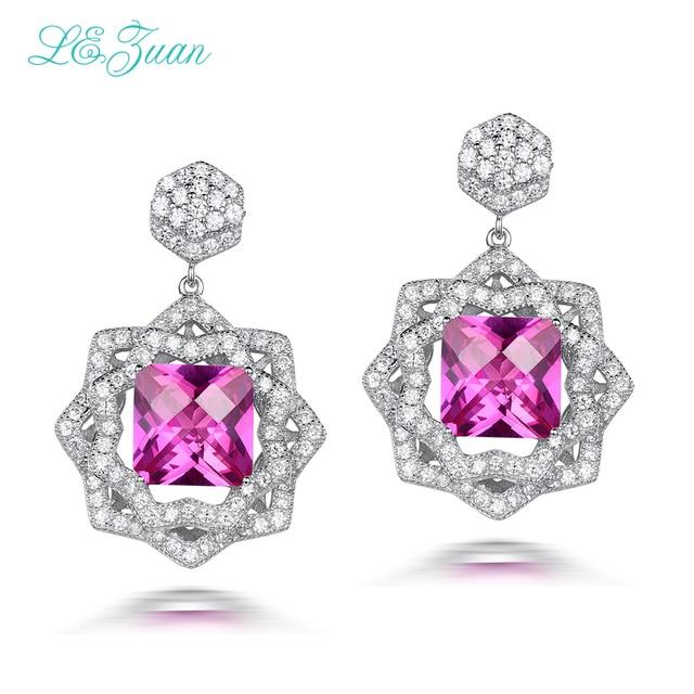 L&zuan Fine Jewelry Drop Earrings For Women 925 Sterling Silver 8.24ct Ruby Pink Stone Gems Romantic Luxury Earrings E0059-W07