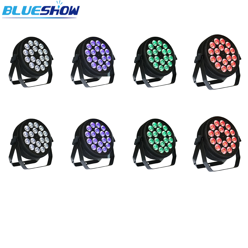 No Tax Custom 8pcs/lot Flat DJ Par Light RGBWA 5in1 18x12W LED Par Lights RGBW 4in1 18x10w Disco Par Light RGBWAUV 6in1 18x15w