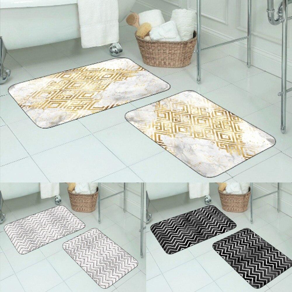 Else Golden Yellow Geometric Ikat Gray Black Pink 3d Print Non Slip Microfiber 2 Piece Bath Mat Set For Bathroom 90x60cm 50x60cm