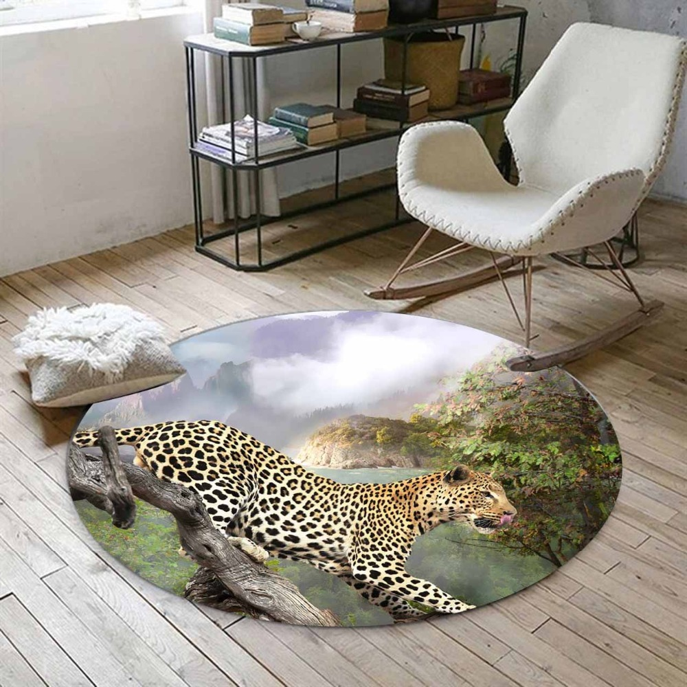 Else Green Jungle In Leopard Wild Animals 3d Print Anti Slip Back Round Carpets Area Rug For Living Rooms Bathroom