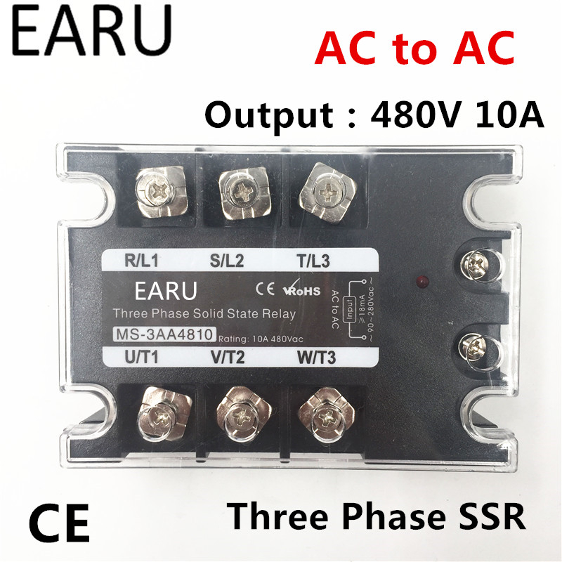 TSR-10AA SSR-10AA Three Phase Solid State Relay AC90-280V Input Control AC 30~480V Output Load 10A 3 Phase SSR High Power AA4810
