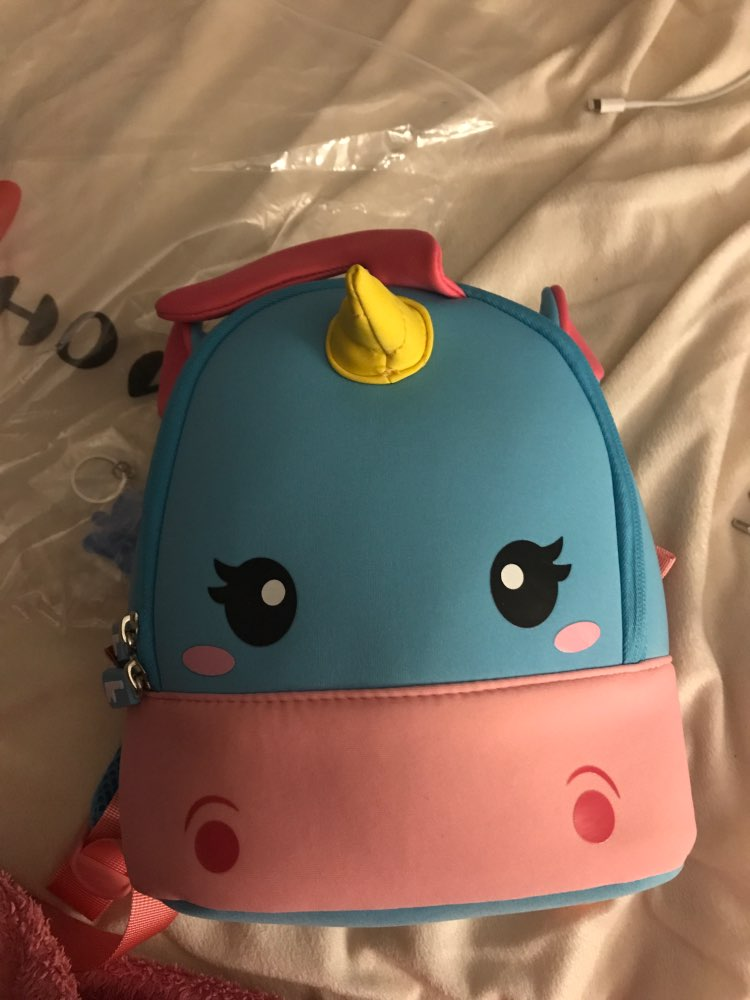 Children School Backpack Cartoon Rainbow Unicorn Design Soft Plush Material For Toddler Baby Girls Kindergarten Kids School Bags photo review