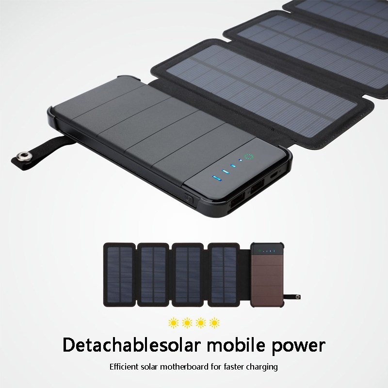 New 10000 mAh Solar Power Bank Carregador Solar À Prova D' Água Dual-Exibição de Energia Elétrica USB Carga Rápida de Bateria Externa De Backup Pacote