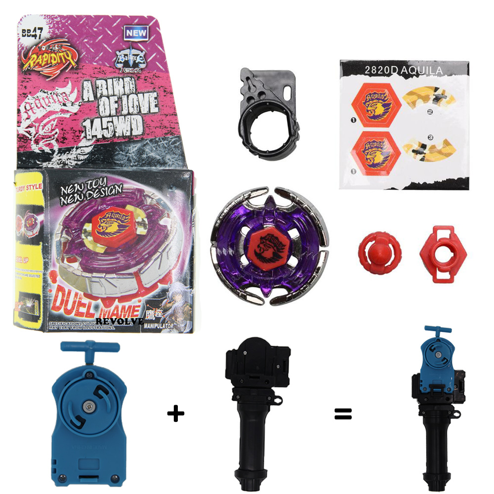 Earth Eagle (Aquila) BB-47 BEYBLADE Masters Fusion Metal+GRIP+BLUE SPIN LAUNCHER