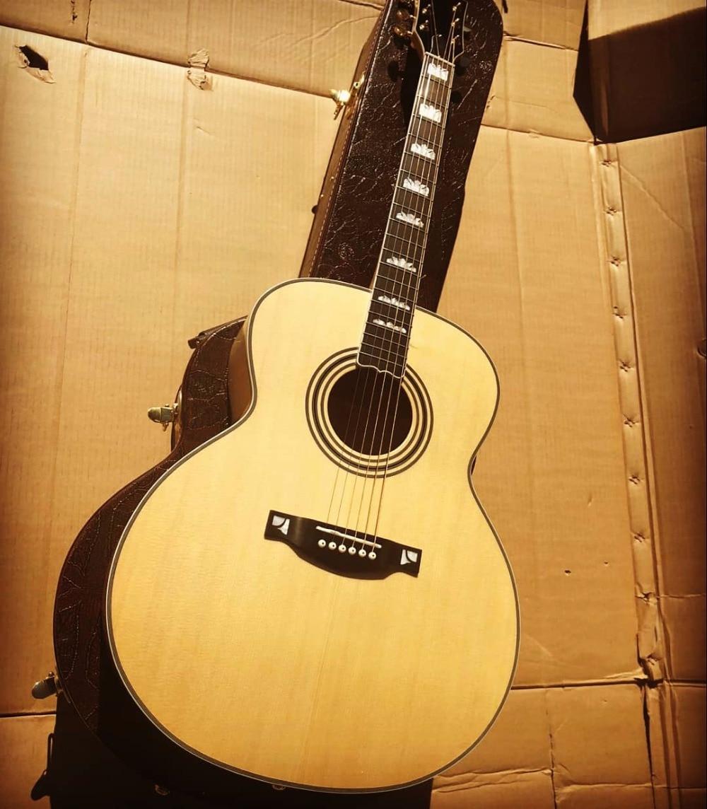 free shipping lefty solid Byron matt finish ebony jumbo body left handed Acoustic Guitars J200 style Natural acoustic guitar