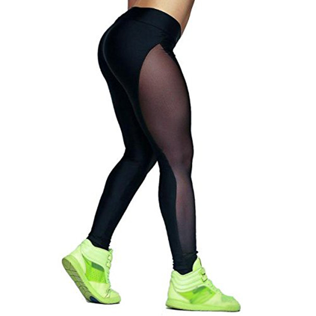 Sexy Women See Through Yoga Pants Outdoor Gym Fitness Elastic Jogging Leggings