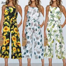 Fashion Women Boho Summer Jumpsuit Pineapple Printed Sleeveless Sashes Lace up Elegant Female Casual Loose Junpsuits Rompers New