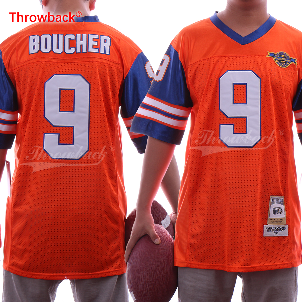 Throwback Men s The Waterboy Football Jersey Stitched Movie  9 Bobby  Boucher Jerseys 1998 BOURBON BOWL Orange S 3XL-in America Football Jerseys  from Sports ... c50d4a74f