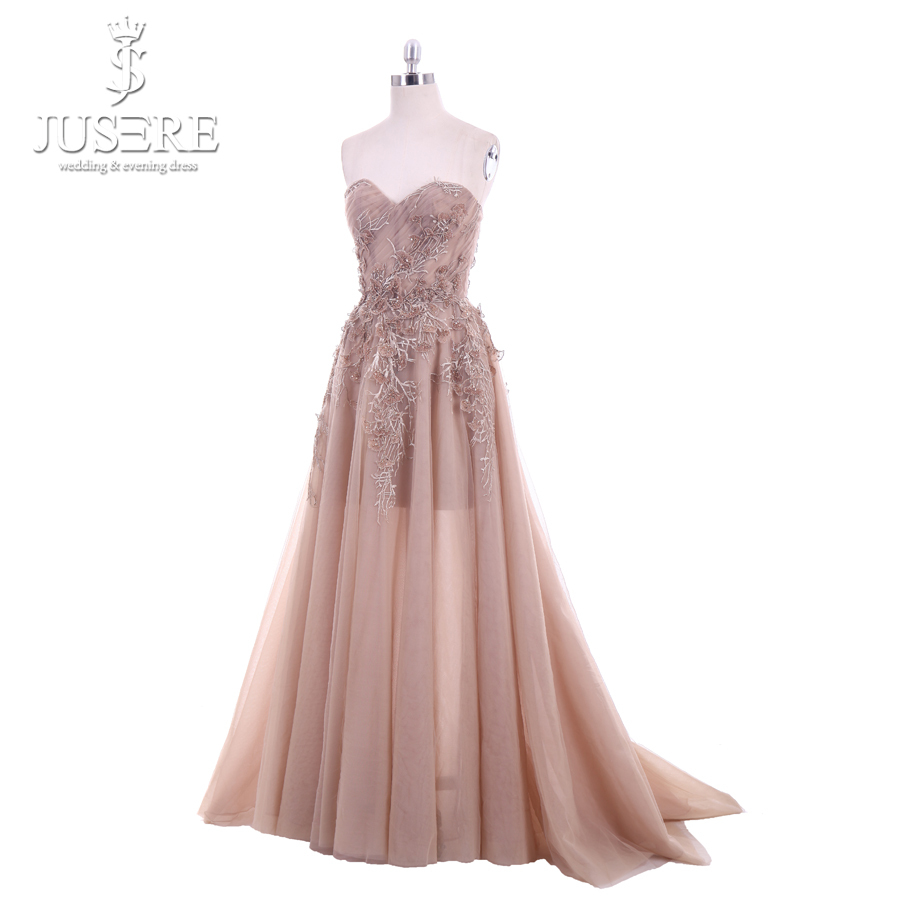 Image 2 - Jusere 2018 New A Line Sweetheart Applique Top Sweep Train Zipper up Back Illusion Long Prom Dress Lace Appliques Evening GownsProm Dresses   -