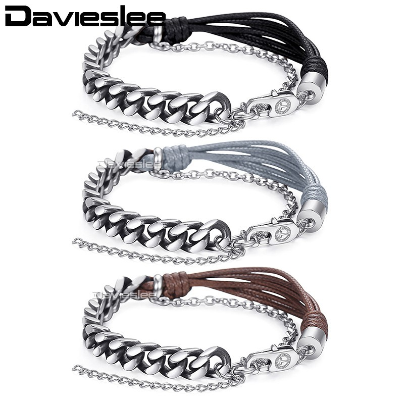 Davieslee Womens Mens Bracelet Double Chain Gunmetal Silver Curb Cuban Stainless Steel Man-made Leather 7mm LDLBM02