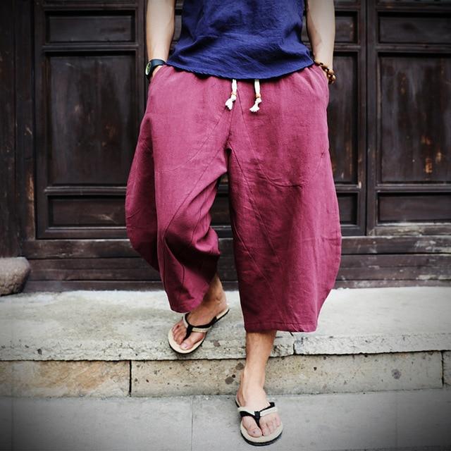 PADEGAO Boho Loose linen Calf-Length Harem Pants solid cotton drawstring  mens wide leg pants a83ec7803d04