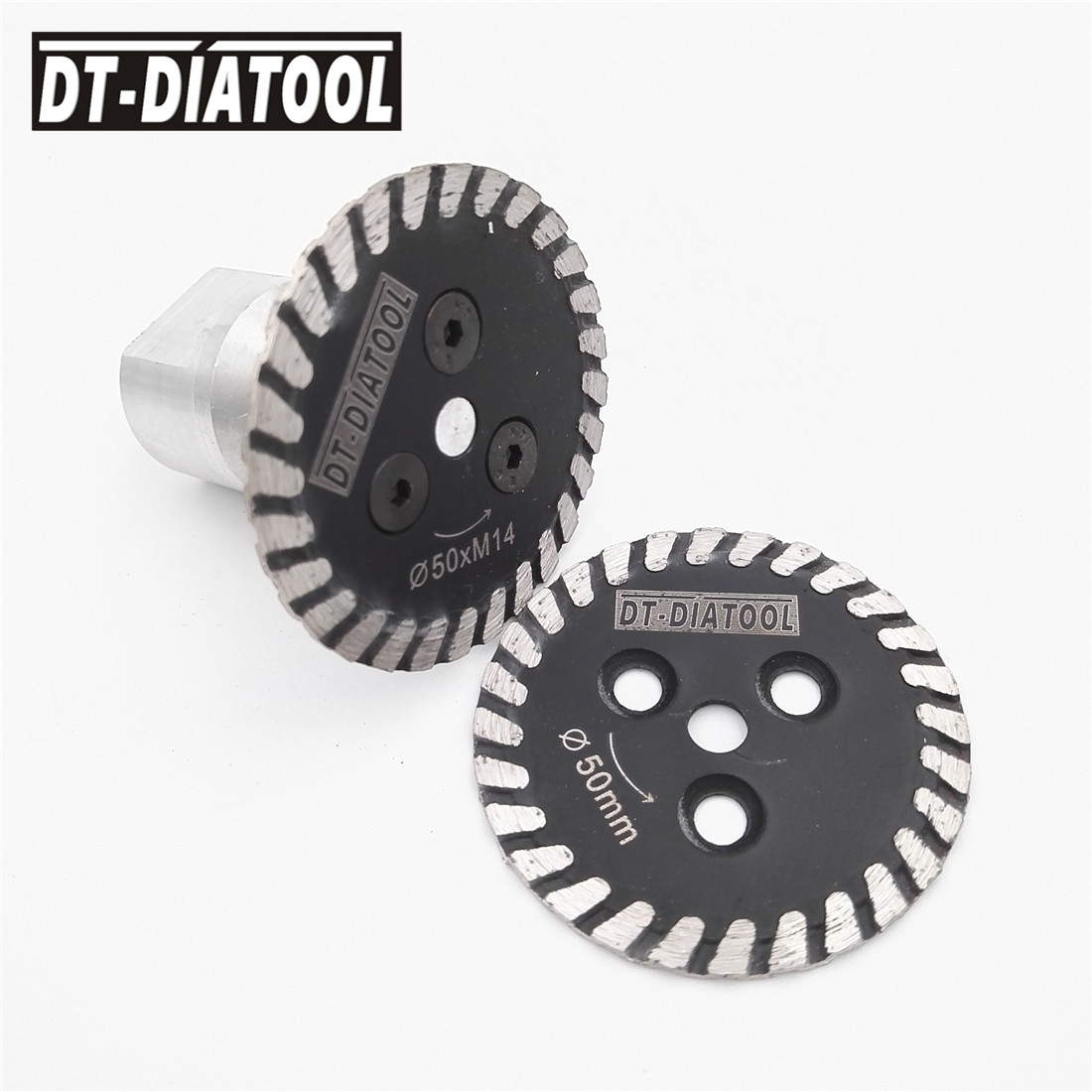 цены на DT-DIATOOL 2pcs Mini Diamond cutting disc Hot pressed saw blade 1pc removable M14 flange carving stone marble concrete