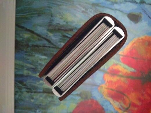 Lederen zakelijke identiteitskaart creditcardhouder Pop-up portemonnee Metalen RFID-portemonnee Dubbele aluminium doos portemonnee voor creditcard geval photo review