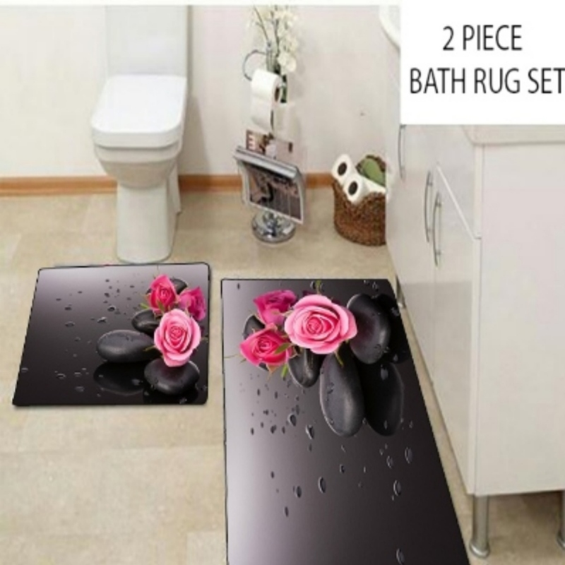 Else Black Spa Stones on Pink Roses Flowers 2 Pcs 3d Pattern Print Bath Mats Anti Slip Soft Washable Bathroom Mat Toilet Rugs