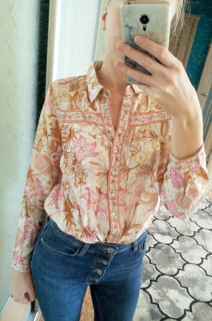 Boho Chic Summer Tops Vintage Floral Print Shirts Women Fashion Lapel Collar Long Sleeve Beach Blouses Blusas Mujer photo review
