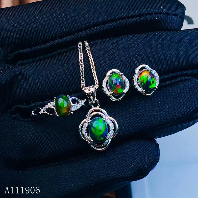 KJJEAXCMY boutique <font><b>jewelry</b></font> <font><b>925</b></font> sterling <font><b>silver</b></font> inlaid natural gemstone black Opal female ring necklace pendant earrings <font><b>set</b></font> supp image