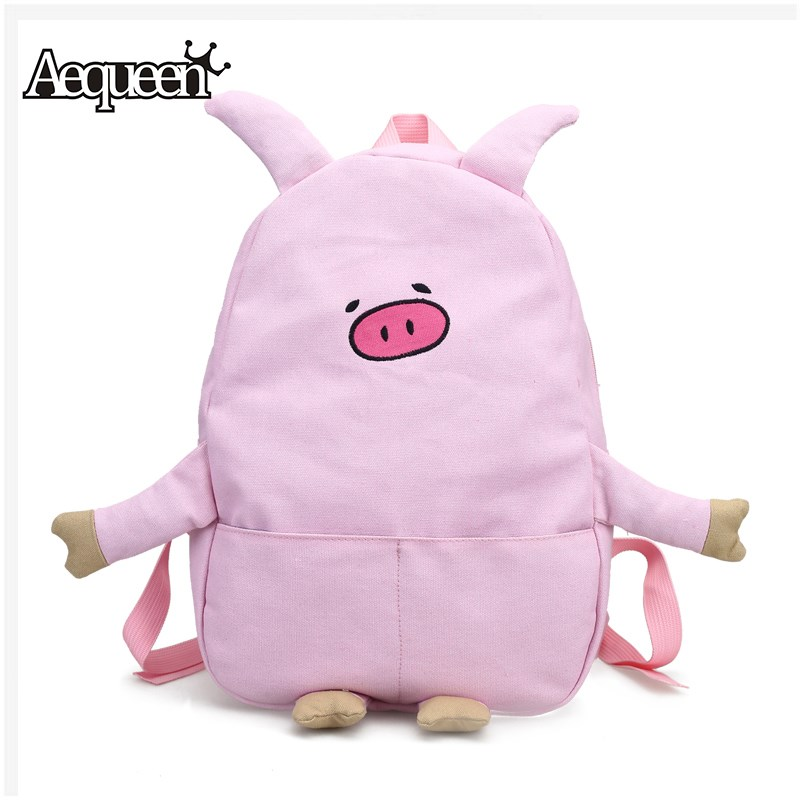 Aequeen 3d Cute Pig Backpacks For Kids Schoolbags Teenager Students Shoulder Bag Canvas Rucksack Women Cartoon Embroidery Pack