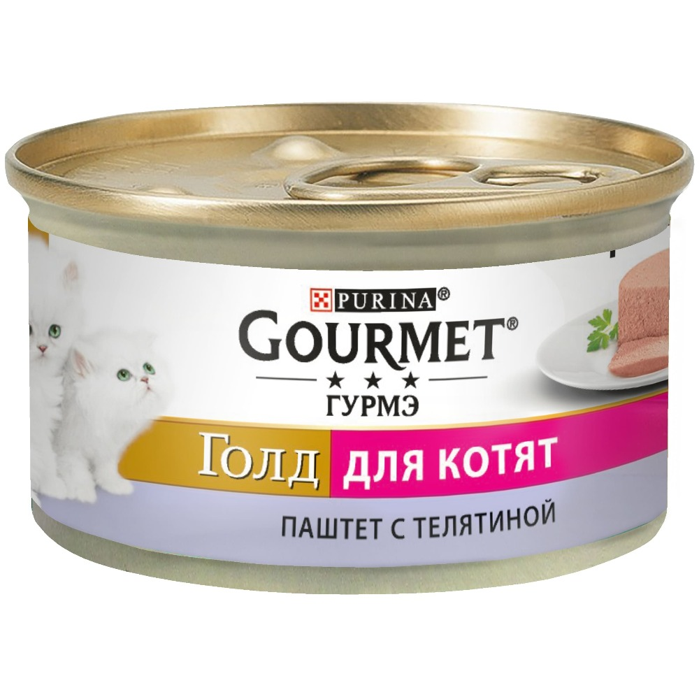 Wet food Gourmet Gourmet Gold Pate for kittens with veal, bank, 12x85 g. wet food gourmet gold gentle beats for cats with beef and tomatoes bank 12x85 g