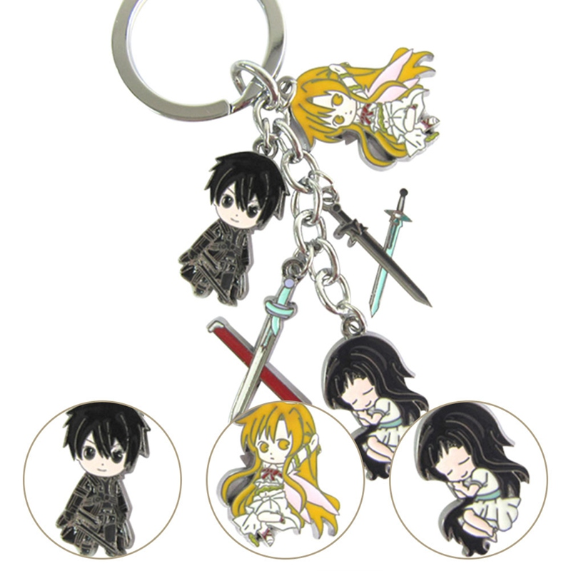 1 Chain 5 Pendant Anime Keychain Sword Art Online Characters Print Keychain Keyrings