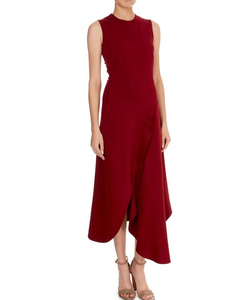 Новое поступление Victoria Beckham одноцветное платье Мода o-образным вырезом без рукавов Асимметричные платья