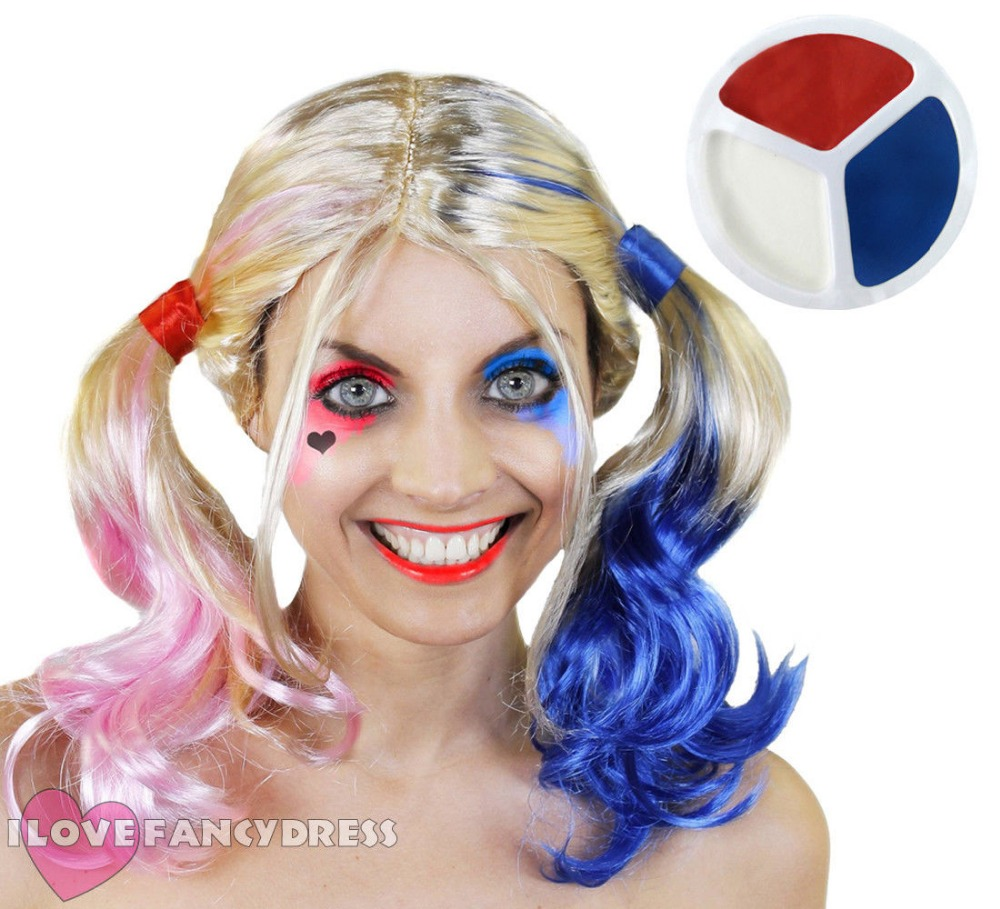 2018 BLONDE PINK ANB BLUE PIGTAIL WIG AND FACE PAINT SET HALLOWEEN FANCY DRESS COSTUME HARLEQUIN VILLAIN Harley Quinn COSPLAY