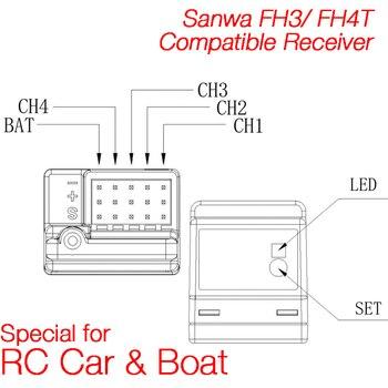 Ricevitore Auto Rc   ARX-482R Compatibile Sanwa FH3/FH4T 4 Canali Superficie Ricevitore Speciale Per RC Auto E Barca