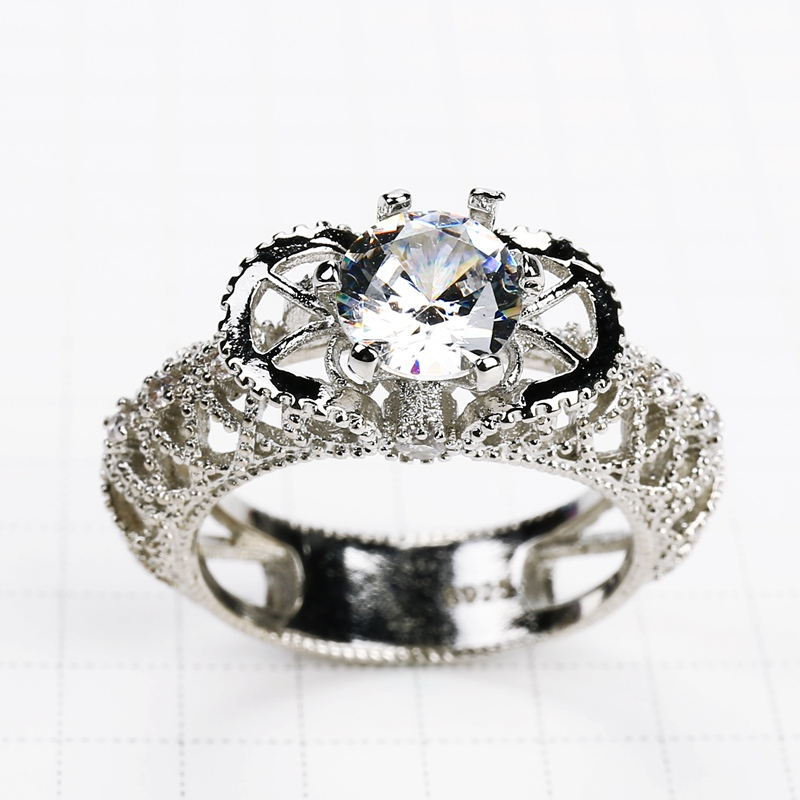 New Crystal Wedding Engagement Rings Delicate Zircon Ring Hollow Out Party Ring Jewelry For Women