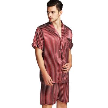 Męska satyna jedwabna krótka piżama piżama zestaw piżam zestaw bielizny nocnej Loungewear S ~ 4XL Plus _ _ prezenty tanie i dobre opinie Mężczyźni Piżamy Skręcić w dół kołnierz REGULAR Paski LONXU Krótki 5Strip Przycisk fly Lycra Jedwabiu Casual