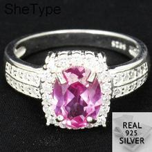 US size 8.0# SheType 4.1g Elegant Pink Sapphire White CZ Gift For Ladies 925 Solid Sterling Silver Rings 21x12mm