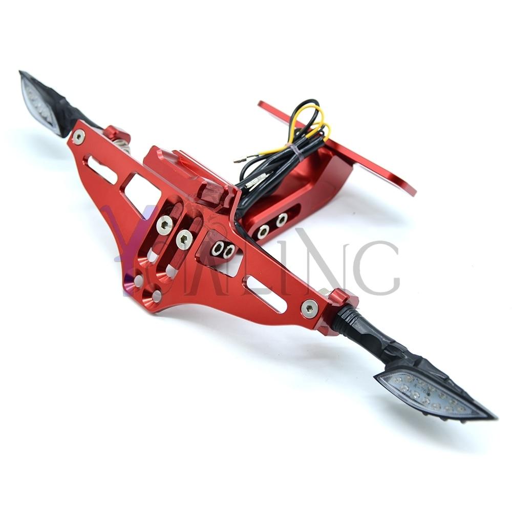 For Ducati Motorcycle CNC License Plate bracket folding Signal blinker LED Light 899 959 1098 1100 1198 1199 1299 R S panigale