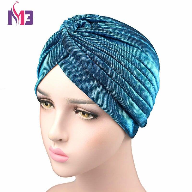 New Luxury Women Shiny Turban Knitted Cool Breathable Muslim Turban   Headwear   Cover Turban Hat Headband Hair Accessories Hijab
