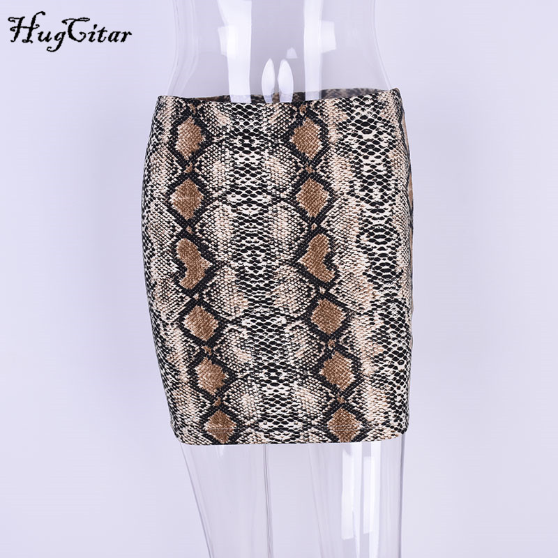 Image 5 - Hugcitar snakeskin sexy bodycon skirt 2017 women fashion high waist mini pencil snake skin skirts-in Skirts from Women's Clothing