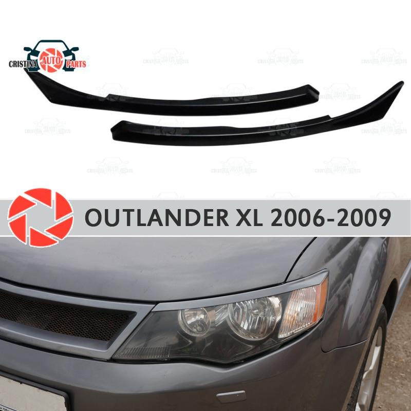 Otomobiller ve Motosikletler'ten Krom Şekillendirici'de Kaşları Mitsubishi Outlander XL 2006 2009 farlar için cilia kirpik plastik ABS pervaz dekorasyon trim araba styling