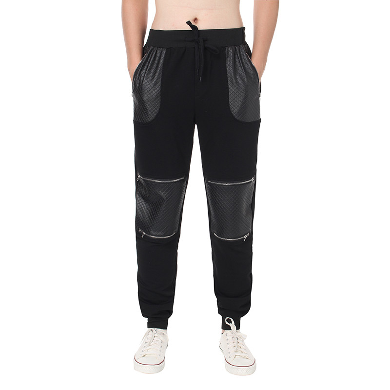 Autumn Spring Men Fashion Sweatpants Casual Joggers Leather Patchwork Elastic Waist Harem Long Trousers Cargo Pants Tracksuits