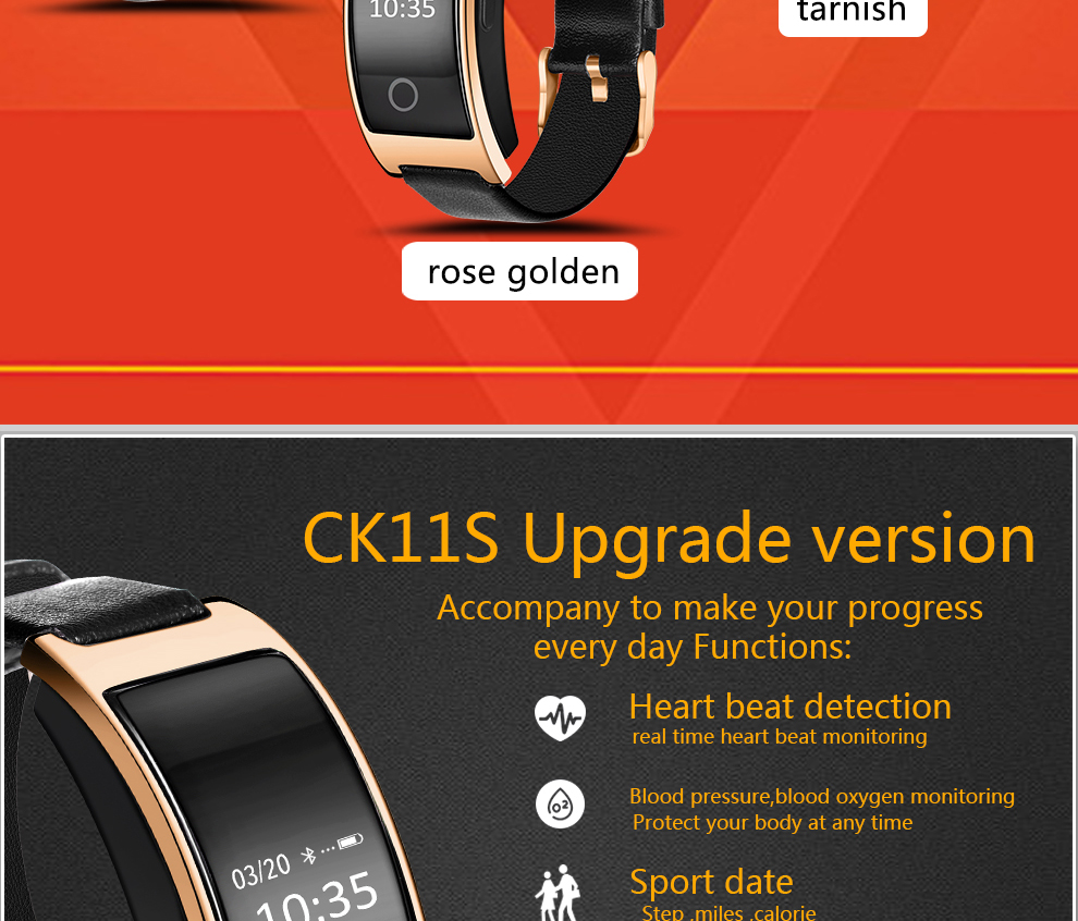 CK11S Wristband Blood Pressure Watch Blood Oxygen Heart Rate Monitor Pedometer IP67 Waterproof marigold 3