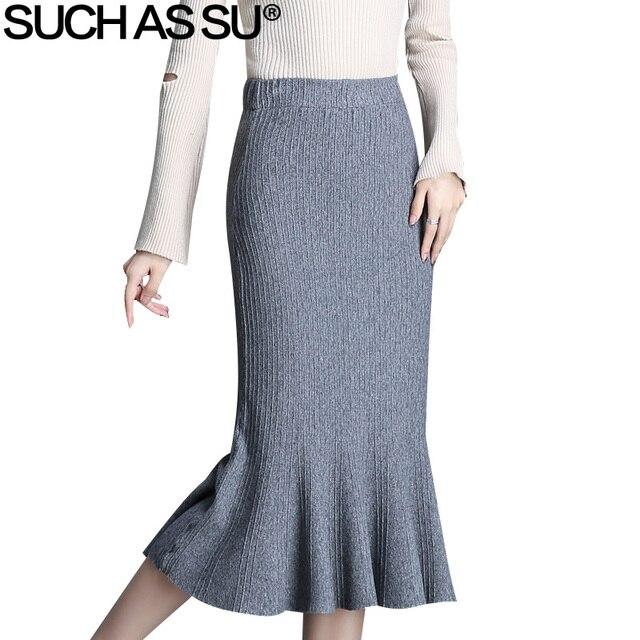 8d9699cf1f Coreano de sirena faldas mujeres 2018 nuevo gris negro de alta cintura  tamaño Ruffles Mid Falda