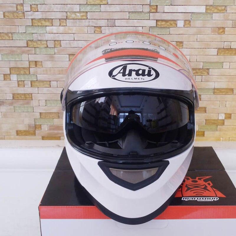 Double visor casque de moto Nouvelle Véritable casque intégral chaud Casco Haute Qualité Moto capacete blanc casque