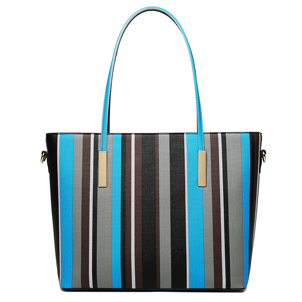 Large capacity PU Leather Casual stripe Handbags Female Designer Bag Vintage Big Size Tote Shoulder Bag High Quality women bag sgarr fashion womnen pu leather handbags high quality large capacity ladies shoulder bag casual vintage female hobos tote bags