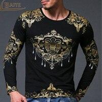 Fashion T Shirt Men Luxury Brand Short Sleeve 3D Gold Foil T Shirt Clothing Cotton Slim