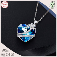 Trendy High Quality Silver Heart With Small Flower Pendant 925 Pure Silver Famous Crystals Pendant Necklace