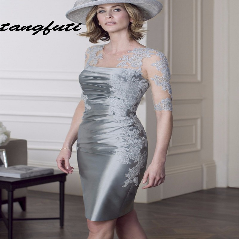 Elegant Silver Mother Of The Bride Dresses With Jacket