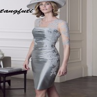 Elegant Silver Mother of the Bride Dresses With Jacket Knee Length Pant Suits Satin Brides Mother Dresses for Weddings