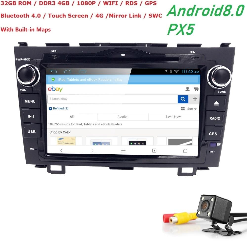 8 inch 2 din Android 8.0 HD 1024*600 Car DVD Player Stereo Radio For Honda CRV 2007-2011 4G WIFI GPS Navigation Head Unit 4G+32G