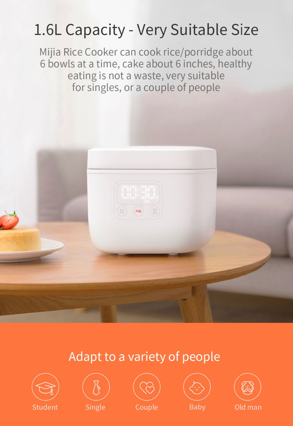 Electric Rice Cooker 1.6L 18