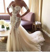 Jusere 2018 Charming Mermaid Wedding Dress Lace Embroidery Court Train Bridal Gowns Vestido de noiva