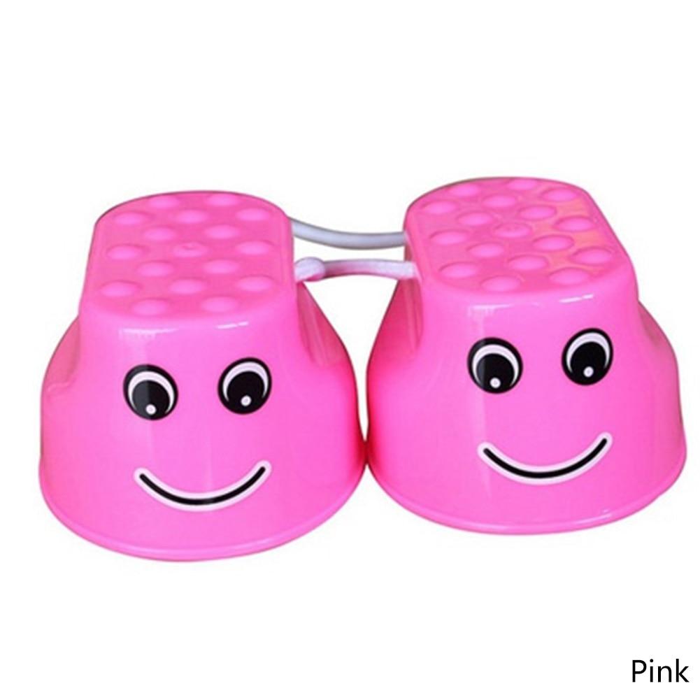 1 Pair Kids Funny Plastic Walk Stilt Jump Outdoor Fun Sports Balance Training Equipment Toy Random Color