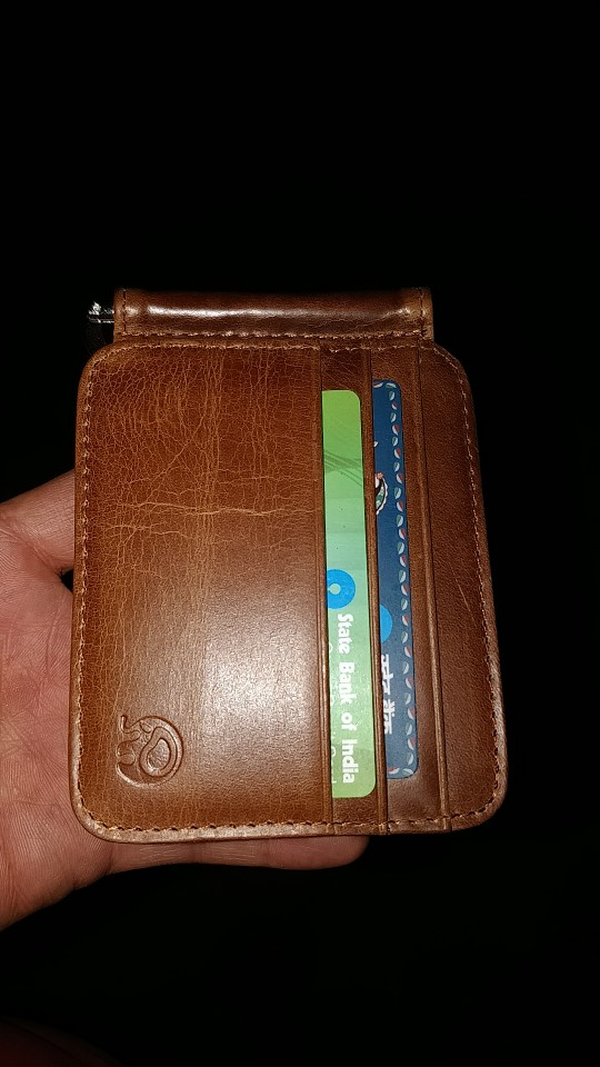 Wholesale Leather Money Clip Metal Wallet Men Thin Billfold Folded Clamp for Money Credit Card Case Cash Clips 12 Card Pocket photo review