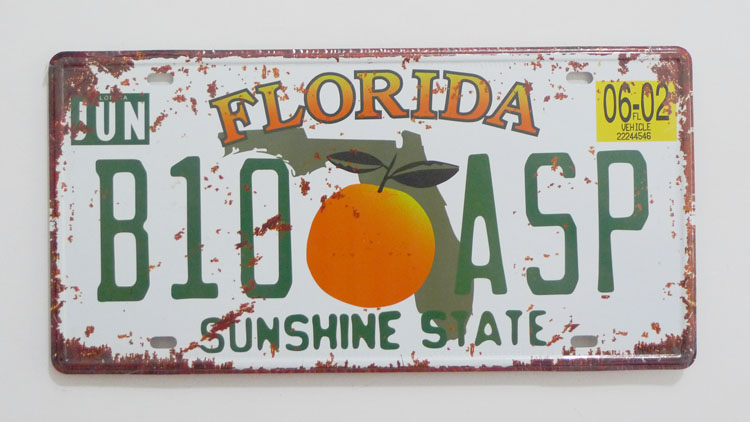1 pc Florida tin sign plate US American car license plaques man cave garage