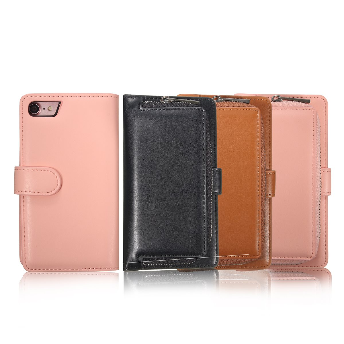 Cooperative Kicute Luxury Magnetic Zipper Leather Flip Wallet Protective Case Cover Stand For Iphone 7 Removable Multifunctional Card Holder Harmonious Colors